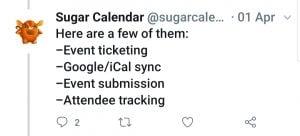 Sugar Calendar Add-On's Tweet